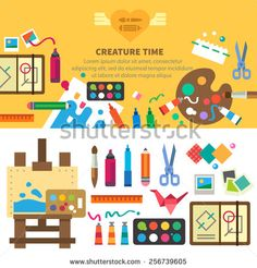 Creative set for artist. Ideas, creativity, design. Tools and materials: paint, brushes, markers , pencil, scissors, ruler, easel, palette. Vector flat illustrations and background