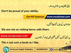Learn English vocabulary in Urdu. English through Urdu made easy. Easiest way to learn English vocabulary in Urdu. English to Urdu Vocabulary. Basic English Sentences, English Grammar Tenses, English Vocabulary, English English, English Words, Learn English, English Speaking Practice, English Language Learning, English Writing Skills