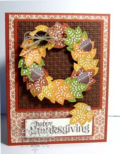Fall Wreath by lisa foster - Cards and Paper Crafts at Splitcoaststampers Fall Cards, Holiday Cards, Christmas Cards, Christmas Holiday, Thanksgiving Wreaths, Thanksgiving Cards, Scrapbook Cards, Scrapbooking, Scrapbook Albums