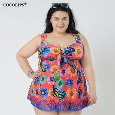 0f7d0491525 Butterfly Swimwear Dress Swimsuit One piece bathing suit Plus size Beach  wear for Fat woman Vintage Beachwear