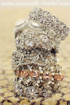 """Gorgeous bracelets!! #vintageinspiredjewelry #cuffs# sparkle#glam  We fell in love with Meg Wedding Jewelry, particularly these cuffs and bracelets!"""""""