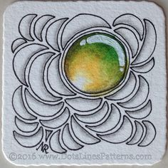 """Bijou tile for the ZenGems swap :) exploring tangles to go with the """"gems"""". Derwent Inktense pencils activated with water, Sakura Micron, Uniball Signo white pen."""