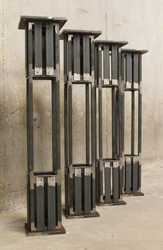 """Industrial Table Leg- Height- Arts and Crafts Style height works well for dining tables, desks, entry tables, etc. Table legs are constructed using ½"""" square bar, square tube and various sizes Car Furniture, Metal Furniture, Industrial Furniture, Industrial Table Legs, Metal Table Legs, Wood And Metal, Metal Walls, Metal Wall Art, Metal Drawing"""