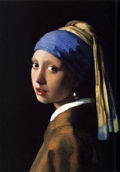 Johannes Vermeer - Meisje met de parel, 1665. Oil on canvas.Mauritshuis,Den Haag.  'k Wordt elke keer weer gevangen door haar blik. Prachtig schilderij