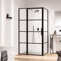 Deze mat zwarte douche past perfect in een industriële doucheruimte | Sealskin SOHO Zijwand 90x210 cm Charcoal Helder Glas Sealglas
