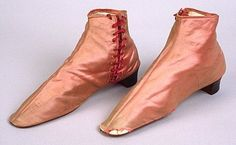 Pair of woman's boots in pink silk satin with square toes, c. Medieval Fashion, Victorian Fashion, Pink Silk, Silk Satin, Haute Couture Fashion, Historical Clothing, Vintage Shoes, Cool Style, Footwear