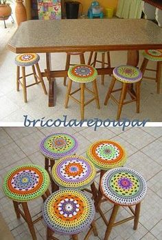 Crochet Round, Crochet Home, Crochet Yarn, Stool Cover Crochet, Crochet Furniture, Stool Covers, Knit Basket, Crochet Decoration, Crochet Cushions