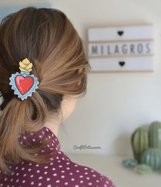 Milagros sacred heart, handpainted  brooches by CraftPatisserie