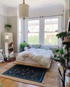 Room Ideas Bedroom, Bedroom Inspo, Bedroom Decor, Bed Room, Green Bedroom Curtains, Korean Bedroom Ideas, Nature Bedroom, Earthy Bedroom, Garden Bedroom