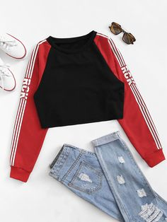 To find out about the Striped Side Raglan Sleeve Crop Sweatshirt at SHEIN, part of our latest Sweatshirts ready to shop online today! Outfits For Teens, Fall Outfits, Casual Outfits, Fashion Clothes, Kids Fashion, Fashion Outfits, Fashion 2016, Preteen Fashion, Womens Fashion