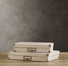 Organizing product:  Beautiful document storage box by Restoration Hardware. {I really like this sand color....} #organizing #storage #deskorganizing #officeorganizing #clutter