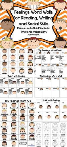 "Are you looking for a way to help your students increase their feelings vocabulary in their writing? Try using these Feelings Word Walls during your writing lessons.  Each product is available in color and black and white to meet your printing needs.  Give your students the tools they need to improve their writing. The ""right"" word to describe feelings will be at their fingertips."