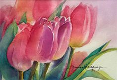 "Spring Tulips by Yvonne Hemingway Watercolor ~ 10"" x 8"""