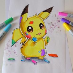 Artwork from the Pokemon universe. Cute Disney Drawings, Cute Cartoon Drawings, Art Drawings Sketches Simple, Kawaii Drawings, Colorful Drawings, Cool Drawings, Drawings Of Pokemon, Drawing Disney, Pikachu Drawing