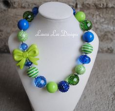 Blue and Lime Green Bow Bubblegum Necklace by LauraLeeDesigns108, $17.99