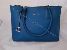 892fc1dd69 Calvin Klein White Label Scarlett Double Zip Carry All Womens Handbag Tote  Blue  CalvinKlein