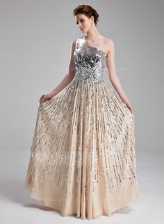 A-Line/Princess One-Shoulder Floor-Length Beading Zipper Up at Side Regular Straps Sleeveless Champagne Spring Summer Fall General Plus Chiffon Sequined Prom Dress