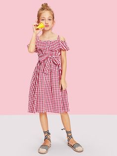 06b58cca1e Shop Girls Flounce Cold Shoulder Gingham Dress with Belt online. SHEIN  offers Girls Flounce Cold Shoulder Gingham Dress with Belt & more to fit  your ...