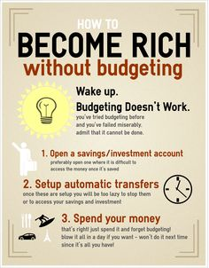 Become rich without budgeting from the Good Money blog. Budgeting doesn't work!