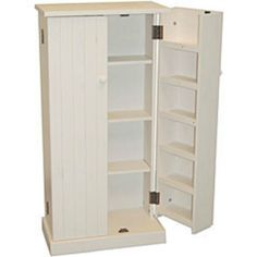 Kitchen Pantry Cabinet Free Standing White Wood Utility Storage Cupboard Food…