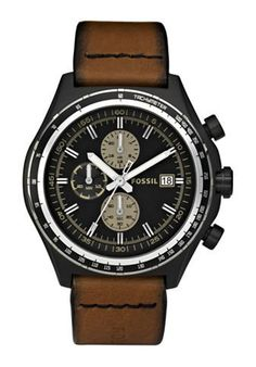 FOSSIL Dylan Chronograph Leather Watch Brown Band Material: leather.  #Fossil #Watch