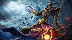 General 3840x2160 digital art fantasy art painting men warrior Smite Hades video games guards magician yellow eyes spear Greek horns