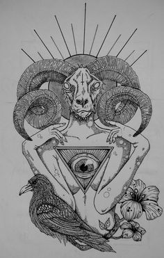 Goat hipster | Grey Ink Goat Head And Illuminati Eye Tattoo Design