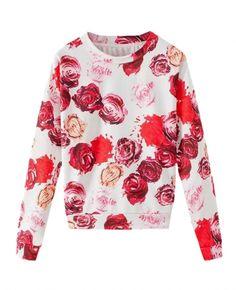 Roses Print Long-sleeves Pullover Sweatshirt.