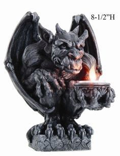 Night Winged Gargoyle Statue Figurine T Light Holder Grotesque Home Decor Demon