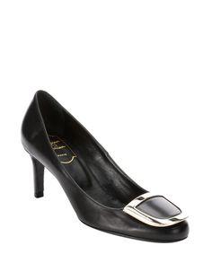 Roger Vivier : black leather 'Decollete Ecusson' buckle detail pumps : style # 349192501