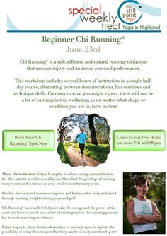 Join us for our Chi Running® Essentials workshop June 23rd. Sign up here for your spot http://ht.ly/lBrPg. If you'd like to see if this workshop is for you please join us June 7th for your free demo.