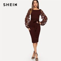 a41b999884 SHEIN Maroon Party Elegant Solid Flower Applique Mesh Sleeve Form Fitting  Skinny Dress Autumn Workwear Women Dresses