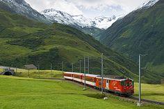 glacier express train, andermatt, switzerland