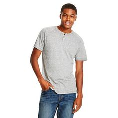 Men's Short Sleeve Henley Shirt - Mossimo Supply Co. - Hematite