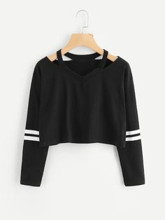 Cut Out Neck Varsity-Striped TeeFor Women-romwe Cut Out Neck Varsity-Striped TeeFor Women-romwe Girls Fashion Clothes, Teen Fashion Outfits, Girl Fashion, Girl Outfits, Tomboy Outfits, Emo Outfits, Punk Fashion, Fashion Dresses, Crop Top Outfits