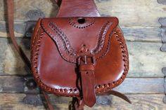 80s Leather Satchel Backpack Purse Tote Cross Body by ScarletFury, $62.00