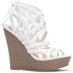 ShoeDazzle Wedge Shanice Womens White ❤ liked on Polyvore featuring shoes, sandals, wedges, white, white caged sandals, white wedge shoes, white wedge heel sandals, wedge shoes and going out shoes