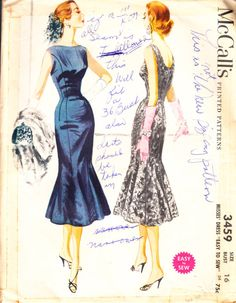 McCall's 3549 Size 16 1955 Cocktail Dress Bust 36 by pcraine, $9.99