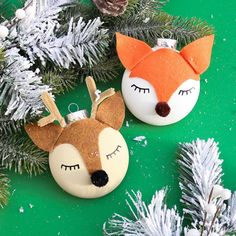 These easy to make Woodland Creature Ornaments will look adorable on your Christmas tree!