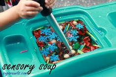 Sensory Sorting and fine motor play with hand strengthening, scooping, and visual motor play. #finemotor #sensory #handstrengtheningkids