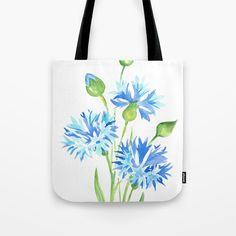 blue flower watercolor painting Tote Bag by dariaart Diy Tote Bag, Beach Tote Bags, Reusable Tote Bags, Painted Canvas Bags, Embroidery Bags, Painted Clothes, Jute Bags, Fabric Bags, Fabric Painting