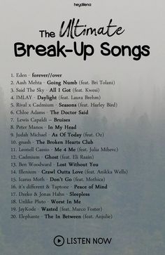 The ultimate break-up playlist . - ultimative Break-Up-Wiedergabeliste – The ultimate break-up playlist – – - Music Mood, Mood Songs, Pop Music, Blues Music, Music Lyrics, Music Songs, Indie Music, Reggae Music, Music Videos