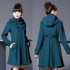 Free SHIP New Women's Wool Blend Double Breasted Long Jacket Trench Coat Sz XL | eBay