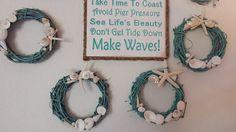 Beach Decor Seashell Wreath - Nautical Decor - Shell Grapevine Wreath in Turquoise