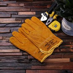 Personalized Leather Suede Gardening, Construction Worker Gloves Gift for Men