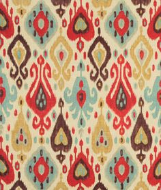 Richloom Django Persia Fabric - By the Yard Ikat Curtains, Ikat Fabric, Drapery Fabric, Red Fabric, Fabric Decor, Fabric Design, Window Curtains, Shower Curtains, Textile Design