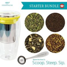 Our starter collection has everything you need to jump into the world of loose leaf teas.  Earl Grey de l Creme - black tea great to start your morning. Peppy Peppermint -herbal tea Peaches and Cream-white tea Vanilla Cupcake-room os tea ONCE you try these amazing teas you won't go back to the ordinary tea bags. Start your healthy living today.  Tealightfulteas.com
