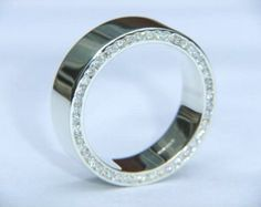 Wedding Ring Handmade 9k White Gold and F VS2 Diamond by DOGSTONE