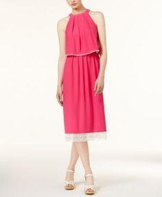 kensie Crochet-Trim Slit-Back Dress - Pink XL