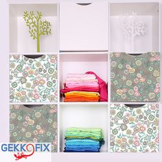Cover some boxes with Fleur beige and white. Get inspired & get creative! #DIY #Flowers #Gekkofix